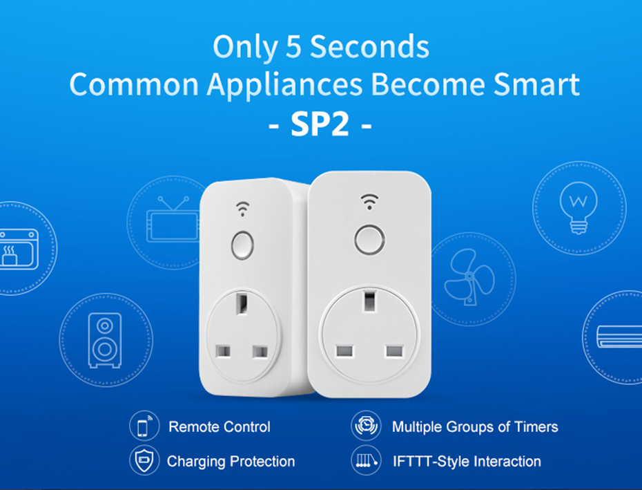 Broadlink SP2 Wifi Smart Socket 10A /13A Timer Setting Plug Smart Home Wireless App Control  By Smartphone For Home Automation