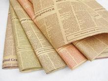 45pcs/lot-52*75cm English Newspaper Retro Letters Printing Flowers Wrapping Paper Flower Packing Material Kraft Paper Package