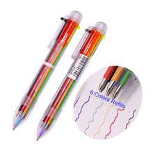 High Quality Ballpoint Pens 1pcs 0.5mm 6color Ball Point Gift Promotional Student School 6 clors Refills Fashion Painted Pen(China)