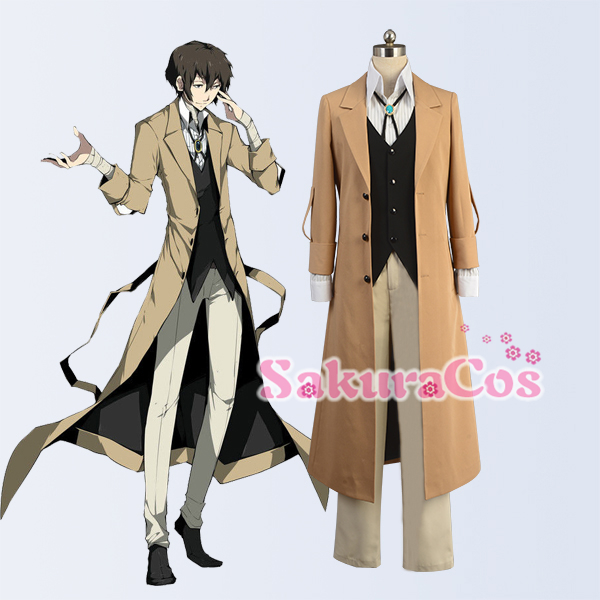 Anime! Bungo Stray Dogs Armed Detective Dazai Osamu Uniform Cosplay Costume Full Set Custom-made Size For Unisex Free Shipping