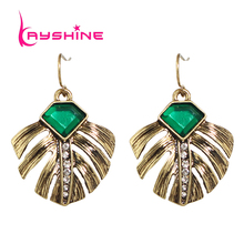 Vintage Female Earrings Costume Jewelry Anqitue Gold-Color with Green Stone and Rhinestone Feather Shape Dangle Earrings Brincos