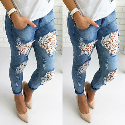 2016 New Women Destroyed Ripped Distressed Slim Denim Pants Boyfriend Lace Jeans TrousersОдежда и ак�е��уары<br><br><br>Aliexpress