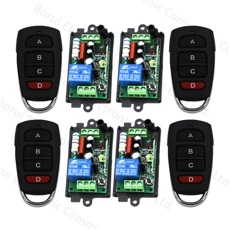 Free Shipping 220V 110V 1CH RF Wireless Remote Control Switch System 315/433 MHZ 4 Transmitter + 4 Receiver<br>