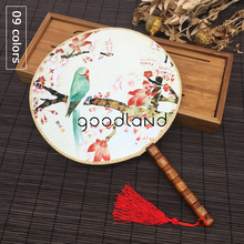 Free Shipping 1pcs Vintage Dancing Fan Chinese Traditional Round Polyester Palace Hand Fan Stage Perform Props Home Decoration(China)