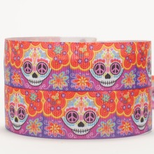 NEW sales 50 yards skull head with orange flowers pattern printed grosgrain ribbon free shipping