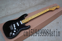 Free shipping 2016 HOT wholesale Custom Body Stratocaster F ST SSS Black Electric Guitar in stock @14(China)