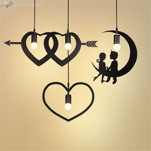 JW Nordic Modern Minimalist Love Pendant Lights Iron Pendant Lamps for Bedroom Restaurant Cafe Bar Indoor Lighting Decoration(China)