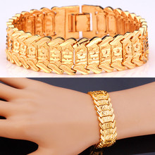 Hot Sale Big Chain Link Bracelet With Flower Pattern 17mm Width Fashion Gold Color Bracelet 20CM For Women Accessories MGC H424