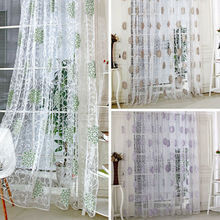 1 PC Door Window Scarf Sheer Floral Curtain Drape Panel Voile Valances, voile curtains,Tulle on the window,curtain voile
