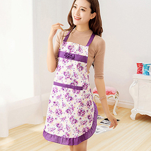 Women Lady Dress Restaurant Home Kitchen Cooking Cotton Apron Bib Floral Pattern  8BRQ