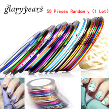 50 Pieces Wholesale Mix Color Nail Roll Striping Tape Line Decal Nail Art Glue Polish Sticker Tip Beauty Women DIY Manicure Tool
