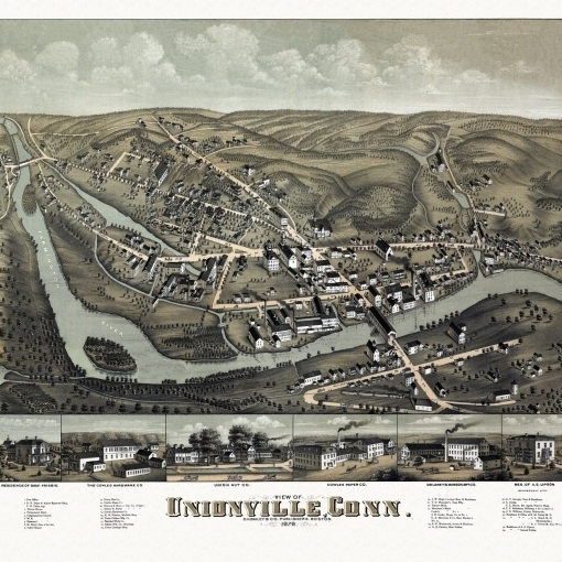Antique Map of Unionville Connecticut 1878 Hartford County Poster Print (36 x 54)