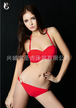 Candy Color Sexy Halter Underwire Bikini Set Side Metal Rings Bathing Suits Push Up Maillot de Bain Femme 2017 CN89(China)