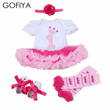 4pcs Per Set Baby Girls Birthday Party Dress 2Years Jumpersuit Headband Shoes Leggins 1st Christmas Outfit Lace Romper Clothing(China)