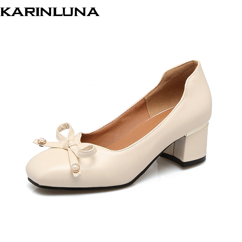 KARINLUNA 2018 Cute Bowtie Leisure women Shoes Woman 2018 square Heels Square Toe Office Pumps Big Size 32-46 customized