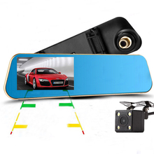 "2017 New Car DVR Review Mirror Camera Full HD 1080P 4.3""LCD With 4 LED Rear View Camera Night Vision Video Recorder Dash Cam"