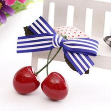 Women Girl Cute Bow Cherry Hair Clip Hairclip Bang Side Clip Hairpins Red Berry Hair Brarrette Clips Hair Accessories for Women