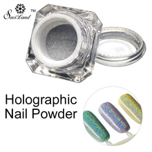 Saviland 1g/Box Holographic Laser Powder Rainbow Chrome Dust 3D Soak Off Glitter Holographic Pigment Powder Nail Tools