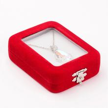 1pc Rectangle Red Velours Pendant Necklaces Boxes for Valentines Day Gifts Packages Display about 8.5cmx6.5cm x2.5cm