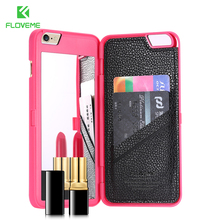 FLOVEME Fashion Lady 3D Flip Leather Case For iPhone 7 6S For iPhone 6 6S 7 Plus Wallet Mirror Case Dual Layer Card Slot Cover