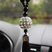 1 X Car Rearview Mirror Hanging Ornament Home Interior Decor Buddha Beads Crystal Ball Lucky Charm Pendant Hangings For Handbag