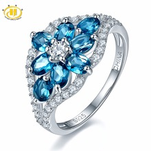 Hutang Natural Gemstone London Blue Topaz Solid 925 Sterling Silver Flower Ring Fine Jewelry For Women Gift 2017 NEW(China)