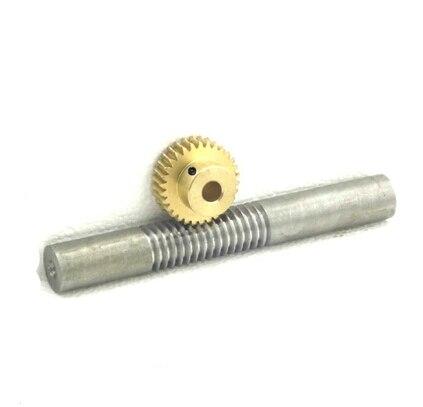 1M-20teeths Metal copper worm gear +steel worm rod reducer transmission parts -1(gear hole:5mm)<br>