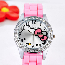 Hello Kitty Watches Women Silicone Rhinestone Watch Girl Ladies Brand Quartz Watch Vintage Cartoon Wristwatches relogio feminino(China)