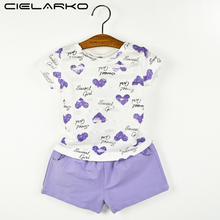 Cielarko Baby Girls Clothing Set Heart Print Short Sleeve Tshirt + Purple Shorts Pants Suit Summer Girl Clothes(China)