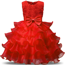 Flower Kids Party Wear Dresses For Girls Infant Holiday Costume Children Prom Gown Brand Baby Girl 3 4 5 6 8 Year Birthday Dress(China)