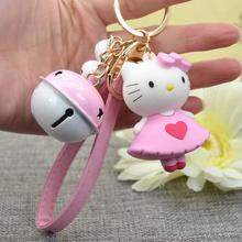 Loving Heart Dancer Hello Kitty Design Gorgeous Cute Jingle Bell Keychain Keyring For Woman Accessories Handbag Charms Pendants