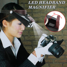 Headband 10X Magnifier Head Magnifying Glass Lens Loupe with LED Light for Handcraft / Repairing(China)