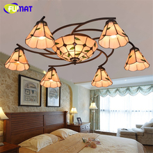 FUAMT American Pastoral Leafs Tiffany Ceiling Lamp Vintage Brief Warm Ceiling Lamp Stained Glass Art Light For Living Room Lamps(China)
