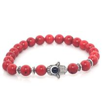 8mm Red Coral Natural Stone Beads Fatima Hand Hamsa Stretch Elastic Mens Bracelet(China)