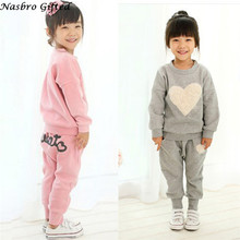 Children's suits Kids Clothes Long Sleeve Heart Print Tracksuit +Harem Pants Outfits Set  Free Shipping F27