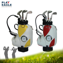 Golf Pens with Golf Bag Holder,Table Decoration Golf Bag Trolley Pens Holder,Miniature golf caddy with metal pens and bag holder