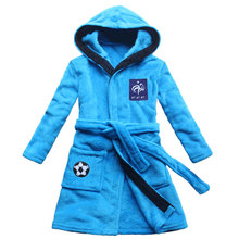 [FEETOO] French football team emblem embroidery children's nightgown boy bathrobe coral cashmere family robe