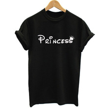 Princess Cartoon Cute Funny Cotton Tshirt for Best Friends Plus Size Loose Casual Vintage Tops Women Clothes Sexy Comics Tees