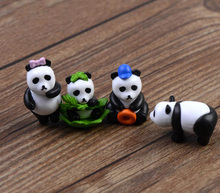 2pcs/lot China Panda Figurine Miniature Statue Decoration Mini fairy garden Cartoon Character animal resin craft TNA126
