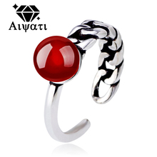Thailand Silver Jewelry Rings Simulated Pearl 925 Silver Ring for Women Red/Black/White Colors Available
