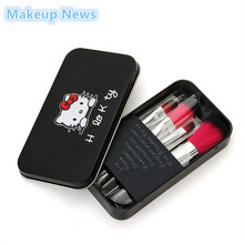 New black Hello Kitty 7 Pcs/set Mini Makeup brush Set cosmetics kit de pinceis de maquiagem make up brush Kit with Metal box(China)