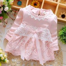 2016 Spring Long Sleeve Lace Bow Baby Party Birthday girls kids Children Cotton dresses, princess infant Dress Vestido(China)
