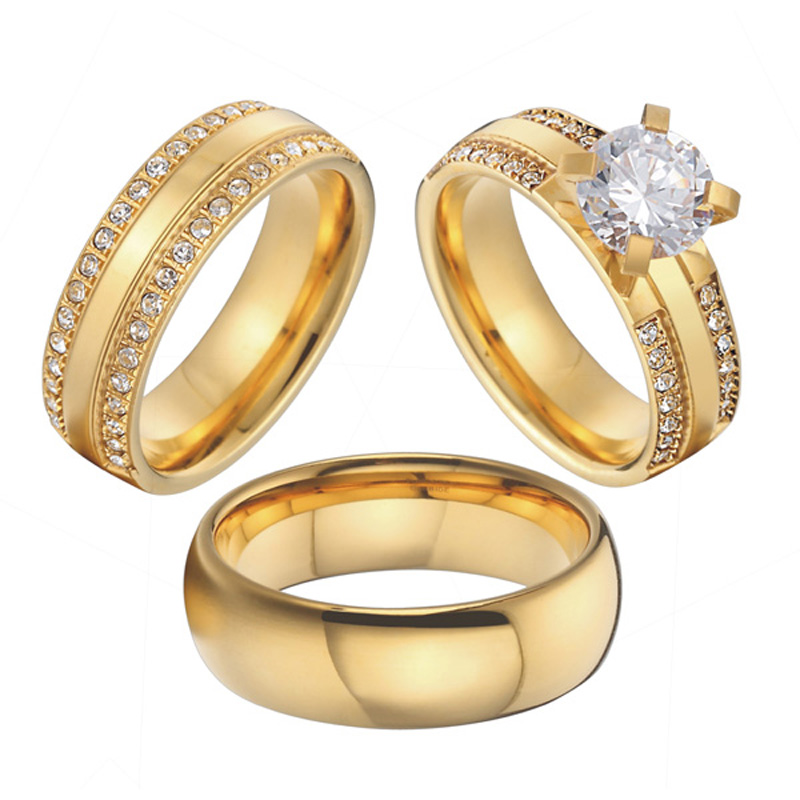 China wholesaler beautiful custom gold color 3 pieces titanium steel couples wedding band engagement rings sets anel (3)