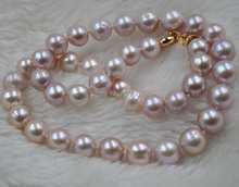 9.5-10mm near round purple freshwater pearl necklace gold clasp