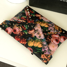 stacy bag hot sale women leather handbag female vintage floral flower painting printing day clutch ladies vintage envelope bag