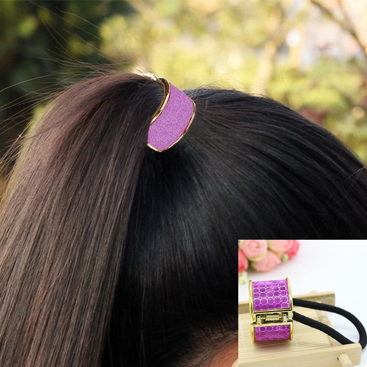 New Korean fashion Cool Metal Hair ring Ponytail Holder Hair Accessories Gold Plated hair band circular opening spring clip(China (Mainland))