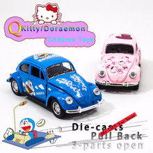 Free Shipping 1:36 Toy Car Beetle Classic Alloy Diecast Car Model Toy Cartoon Vehicle Doraemon & Kitty Car Toys For Children