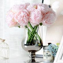 Simulation DIY 5 Heads Peony Bouquet Artificial Flower Wedding Party Home Decor Cloth Flowers Cheap Price