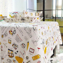 1PC Household Europe Trip Printed Linen Table Cover Lace Edge Tablecloth Rectangle London Bus Cotton Table Cloth Multi Size(China)