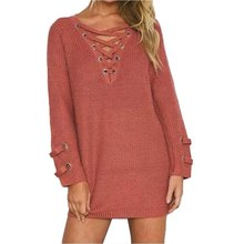 81a199ee16 Sexy Pullovers Women s Lace Up Front V Neck Sweater Autumn Long Sleeve  Knitted Pullover Casual Solid